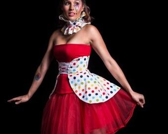 Rainbow Corset Skirt, Rainbow Polka Dot Skirt, Women's Costume, Halloween Costume, Polka Dot Skirt, Cincher Skirt, Rainbow Peplum