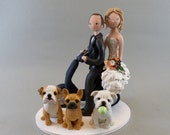 Bride & Groom on Vespa and 3 Dogs Custom Handmade Wedding Cake Topper - reserved for marisalehr1