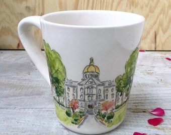 Unique engagement gift mug for couple custom portrait from your photo ceramic by Cathie Carlson