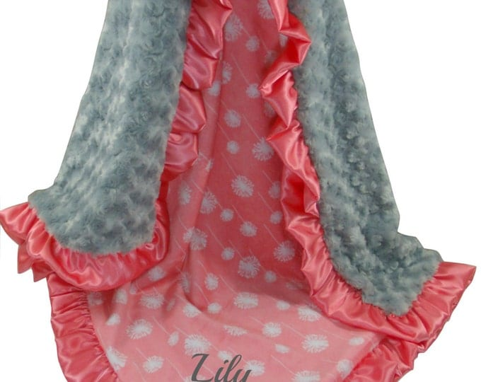 Coral Dandelion Minky Baby Blanket with Gray Rose Swirl, Salmon Pink and Gray Baby Blanket available in three sizes