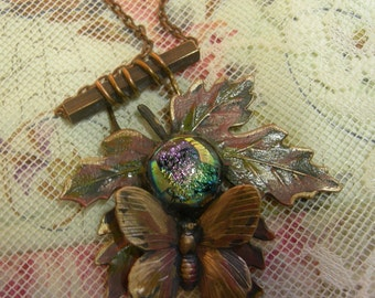 Soldered Glass Assemblage Necklace - Fall Maple Leaf with Butterfly