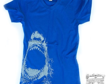 SALE! Womens SHARK - Alternative Apparel Basic Crew Tee S M L XL