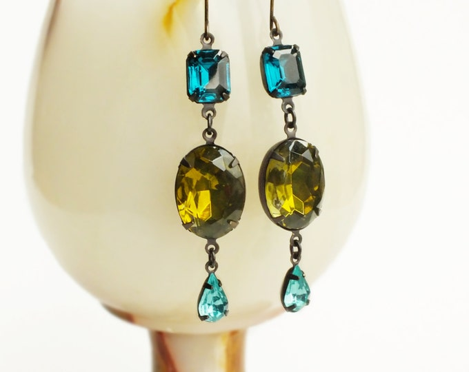 Olive Crystal Earrings Large Vintage Green Rhinestone Dangles Olivine Teal Aqua Jewelry Green Statement Jewellery