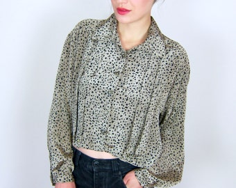 Green and Black Patterned Blouse