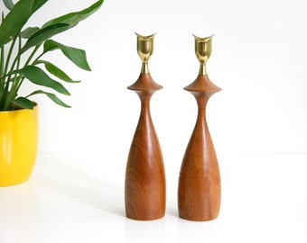 Mid Century Modern Wood and Brass Candlesticks / Danish Modern Turned Wood Candle Holders