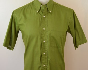 Vintage Penneys TOWNCRAFT short sleeve shirt 1960's mod size medium tapered slim fit
