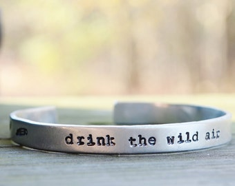Drink the Wild Air Cuff . Earthy Jewelry . Nature Jewelry . Gifts for Hikers Campers Backpackers . Under 25 . Travelers . Explorers