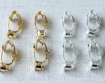 Clip on earring convertor, Convert Stud earrings to clip earrings, choose silver or gold, no tools necessary, nickel free earring adaptor