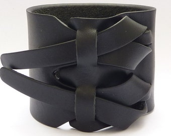 Leather Cuff, Leather Bracelet, in Flat Black by Muse 2 inches, Gift of Him, Gift for Her, FREE SHIPPING