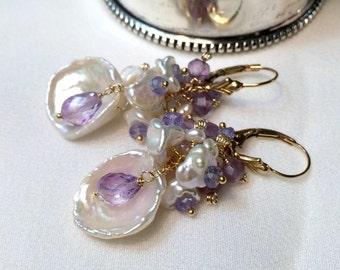 Amethyst Keishi Pearl Earrings Beach Wedding Earrings Handmade Keishi Pearl Cluster Earrings Gold Fill Wire Wrap Tanzanite- Delina 3