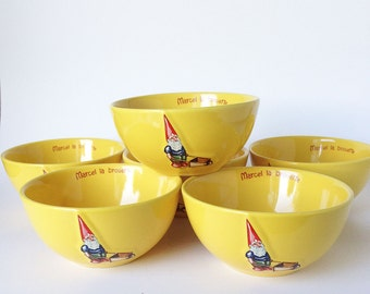 Gnome Bowl, Set of Six, Kiss that Frog Yellow French Ceramic Bowls