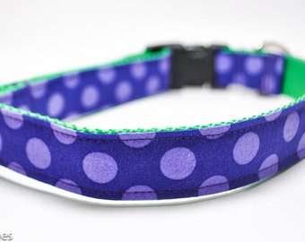 Purple and Lime Polka Dot Dog Collar / Purple Dot on Lime / Custom Dog Collar