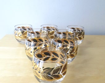 roly poly black and gold bar glasses midcentury barware set of 4 or set of 8
