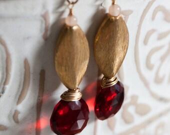 Bead Earrings, Vermeil, Wire Wrapped Red Quartz Drop, Peach Moonstone Earrings
