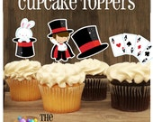 Magic Show Party - Set of 12 Assorted Magic Show Cupcake Toppers by The Birthday House
