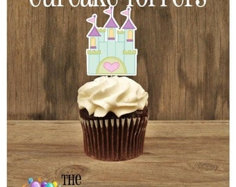 Princess Birthday Party - Set of 12 Castle Cupcake Toppers by The Birthday House