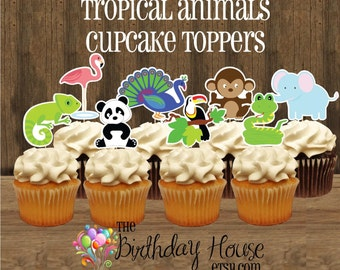 Tropical Animals Party - Set of 12 Double Sided Assorted Zoo Animal Cupcake Toppers by The Birthday House
