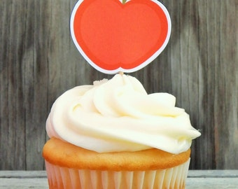 Back to School Party - Set of 12 Apple for the Teacher Cupcake Toppers by The Birthday House