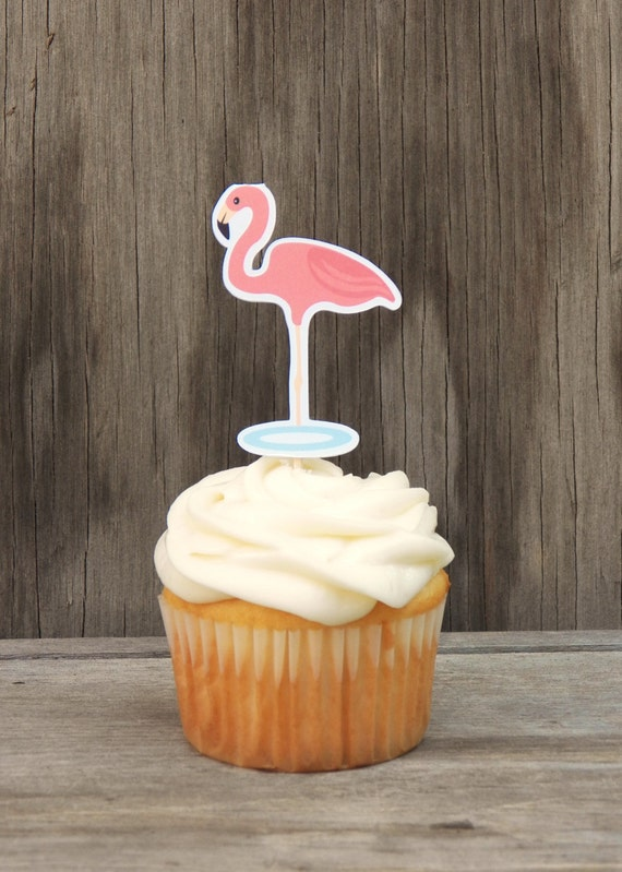 Zoo Animals Party - Set of 12 Flamingo Cupcake Toppers by The Birthday House