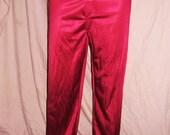 Vintage Burgundy Men's Nylon Pajama Bottoms S