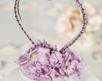 Crystal Heart Wedding Cake Topper- Custom Colors!