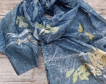 Silk scarf hand dyed botanical print