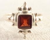 Vintage Size 7 Sterling Princess Cut Garnet Ring
