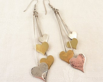 SALE --- Vintage Sterling and Brass Long Dangling Heart Earrings