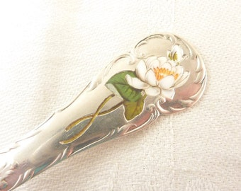 SALE ---- Antique Baker, Reed & Barton Sterling Spoon with White Enamel Lotus Flower Inlay Handle
