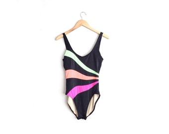 SALE // NEON STRIPED Bathing Suit // One-Piece Swimsuit - Vintage '80s. Size 12 (L).