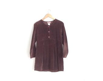 Size M/L // SALE // CORDUROY BABYDOLL Dress // Dark Brown - Long Sleeve Dress - Vintage '90s.