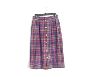 Size S // SALE // PLAID MIDI Button-Front Skirt // Purple - Vintage '70s.