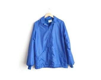 Size M // NYLON COACH'S JACKET // Sherpa-Lined - Royal Blue - Snap Buttons - Vintage '70s/'80s.