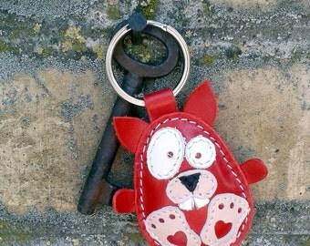 Red Fat Rabbit Handmade Leather Keychain - FREE Shipping Wordlwide - Handmade Leather Rabbit Bag Charm