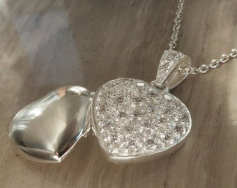 "Heart locket with CZ accent on locket & bail on 18"" silver chain"