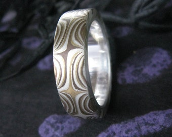 Mokume Gane Ring, SIze 8 with Silver liner band
