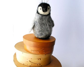 Original Needle Felted Penguin Chick  Pin Cushion