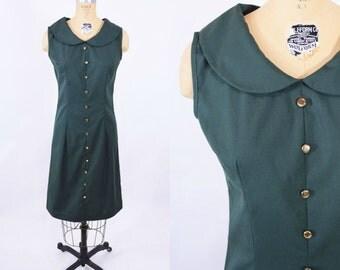 "1960s shift dress | hunter green peter pan collar dress | vintage 60s dress | W 29"""