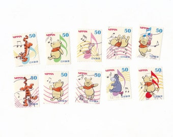 Lot of 10 ADORABLE Winnie The Pooh Postage Stamps from Japan Eeyore, Piglet & Tigger too!