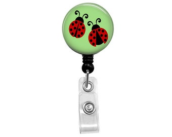 Ladybug Badge Reel - Mylar Cleanable Surface - Unique Gift Retractable Badge Reel - LPN RN Nurse Badge