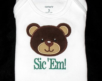 Custom Personalized Applique BEAR and Words or Name Bodysuit or Shirt - Brown, Tan, and Green