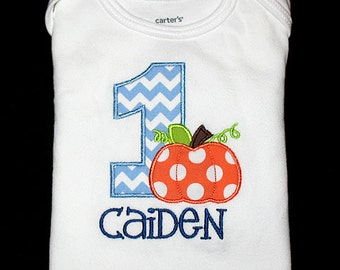 Custom Personalized Applique Birthday Number with PUMPKIN and NAME Shirt or Bodysuit - Lt Blue Chevron Stripe, Orange, Lime, and Navy Blue
