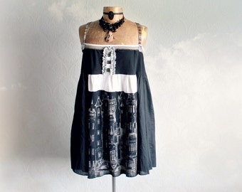 Black Plus Size Top Upcycled Fashion Boho Chic Dress Summer Clothing Loose Flowing Swing Women Strappy Tank Bohemian Clothes 1X 2X 'FINOLA'