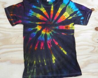 Rainbow on Black Spiral Tie Dye T-Shirt (Gildan Size S) (One of a Kind)