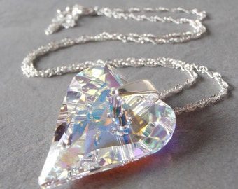 Heart Jewelry Crystal Heart Necklace Large Swarovski Crystal Pendant Crystal Wife Gift Girlfriend Gift Sterling Silver 16 18 20 24 Inch