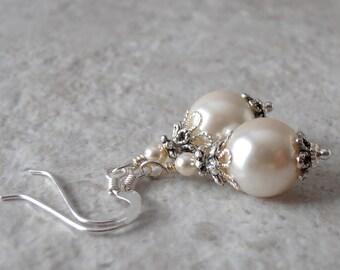 Cream Pearl Bridal Earrings, Beaded Bridesmaid Dangles, Ivory Vintage Style Wedding Jewelry Sets, Simple Swarovski Pearls In Antiqued Silver