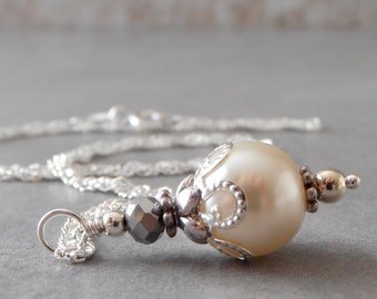 Off White Pearl Bridal Necklace Beaded Pendant Necklace Sterling Silver Chain 16 18 20 Inch Off White Wedding Jewelry Gift for Bridesmaid