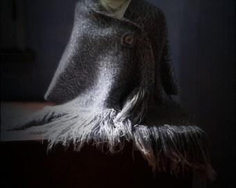 Shawl cape handwoven grey damask heirloom classic