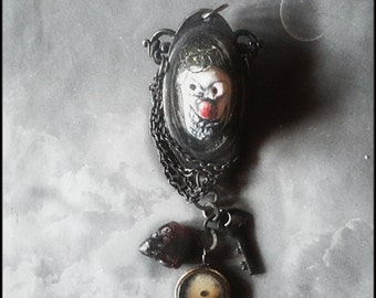 Scary clown art pin brooch ceramic art bead upcycled vintage