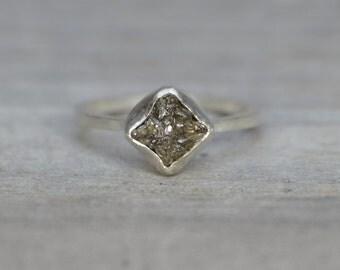 raw diamond engagement ring, 1.45ct rough diamond ring, handmade in England